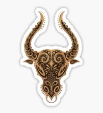 Rustic Taurus Zodiac Sign on Black Sticker