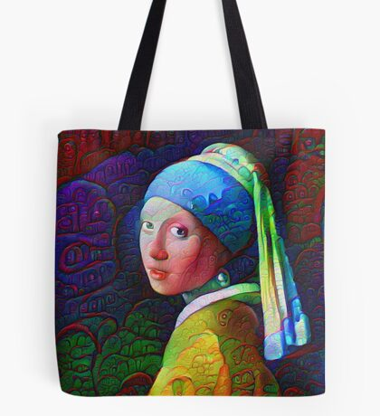 """DeepDreamed """"Girl with a Pearl Earring"""" Tote Bag"""