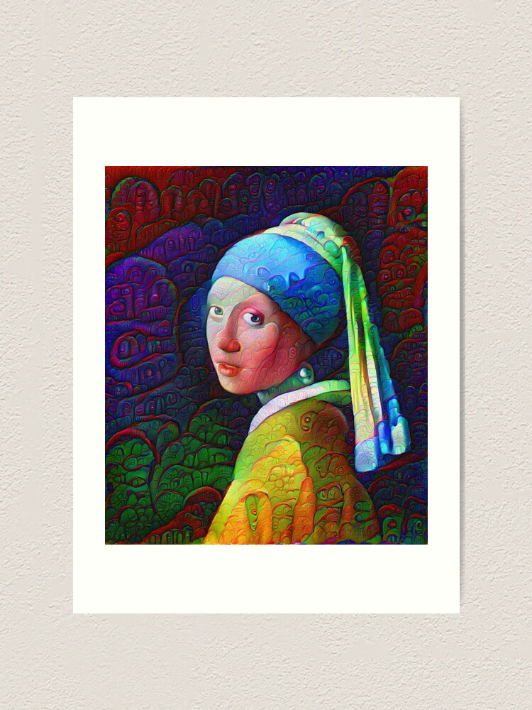 "Alternate view of DeepDreamed ""Girl with a Pearl Earring"" Art Print"