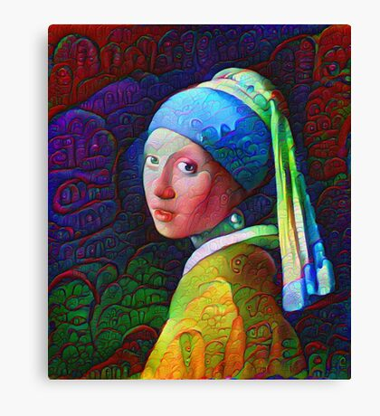"DeepDreamed ""Girl with a Pearl Earring"" Canvas Print"