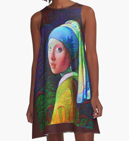 """DeepDreamed """"Girl with a Pearl Earring"""" A-Line Dress"""
