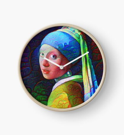 """DeepDreamed """"Girl with a Pearl Earring"""" Clock"""