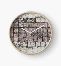 Coral and White Tiles Clock