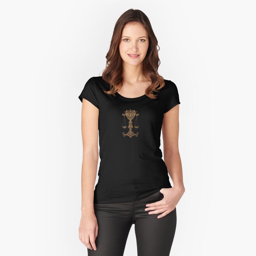 Rustikales Waage-Sternzeichen auf Schwarzem Tailliertes Rundhals-Shirt