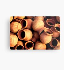 India: A Day in the Life of Varanasi #1 - Earthenware Pots Metal Print