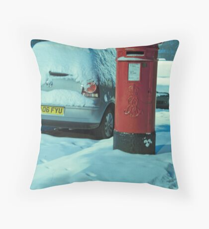 Cold Letters, Warm Heart: Snowy Letterbox Throw Pillow