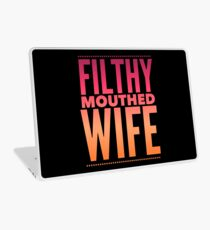 Pop Culture Gift - Filthy Mouthed Wife in Orange and Pink Laptop Skin