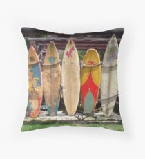 Surfboard Fence Throw Pillow