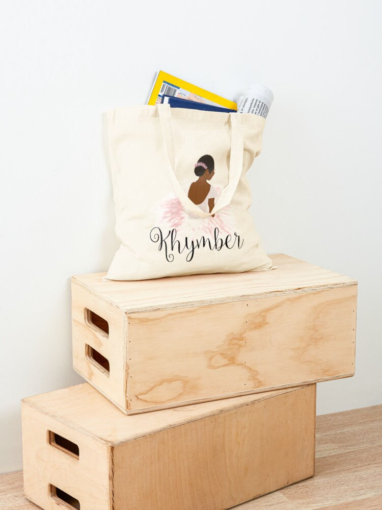 Alternate view of Khymber Personalized African American Dancer Ballerina Tote Bag