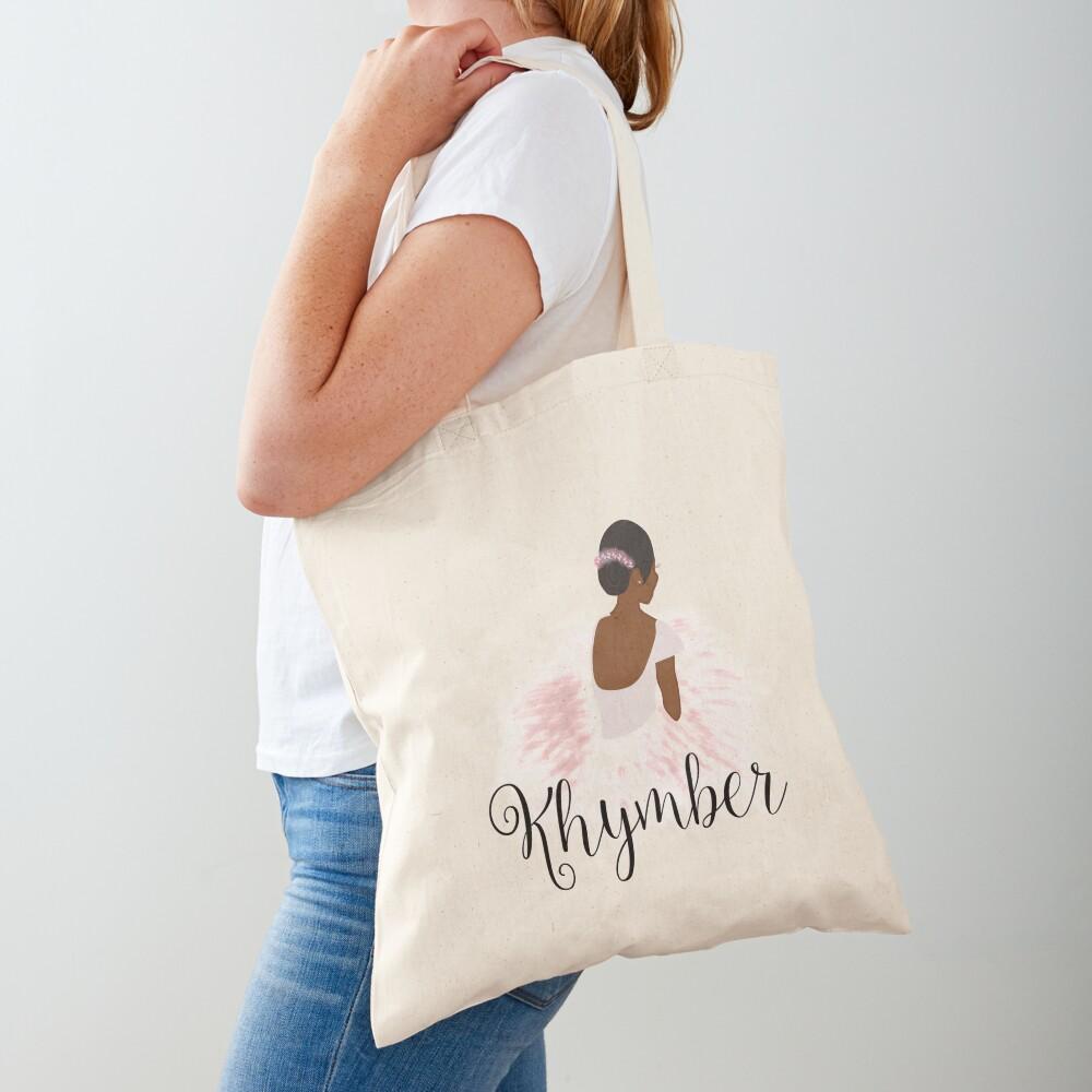 Khymber Personalized African American Dancer Ballerina Tote Bag