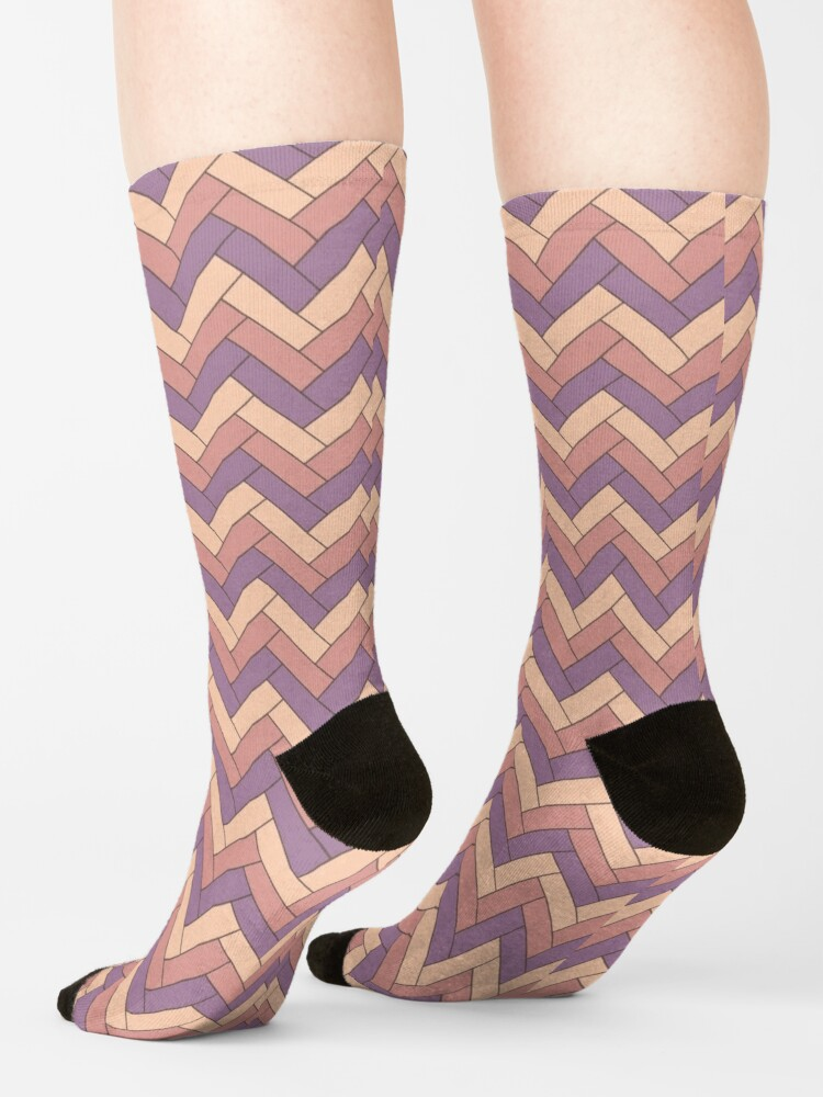Alternate view of Geometric Pattern: Herringbone: Autumn Socks