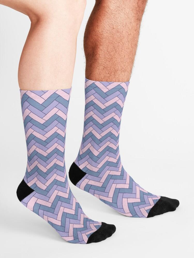 Alternate view of Geometric Pattern: Herringbone: Iris Socks