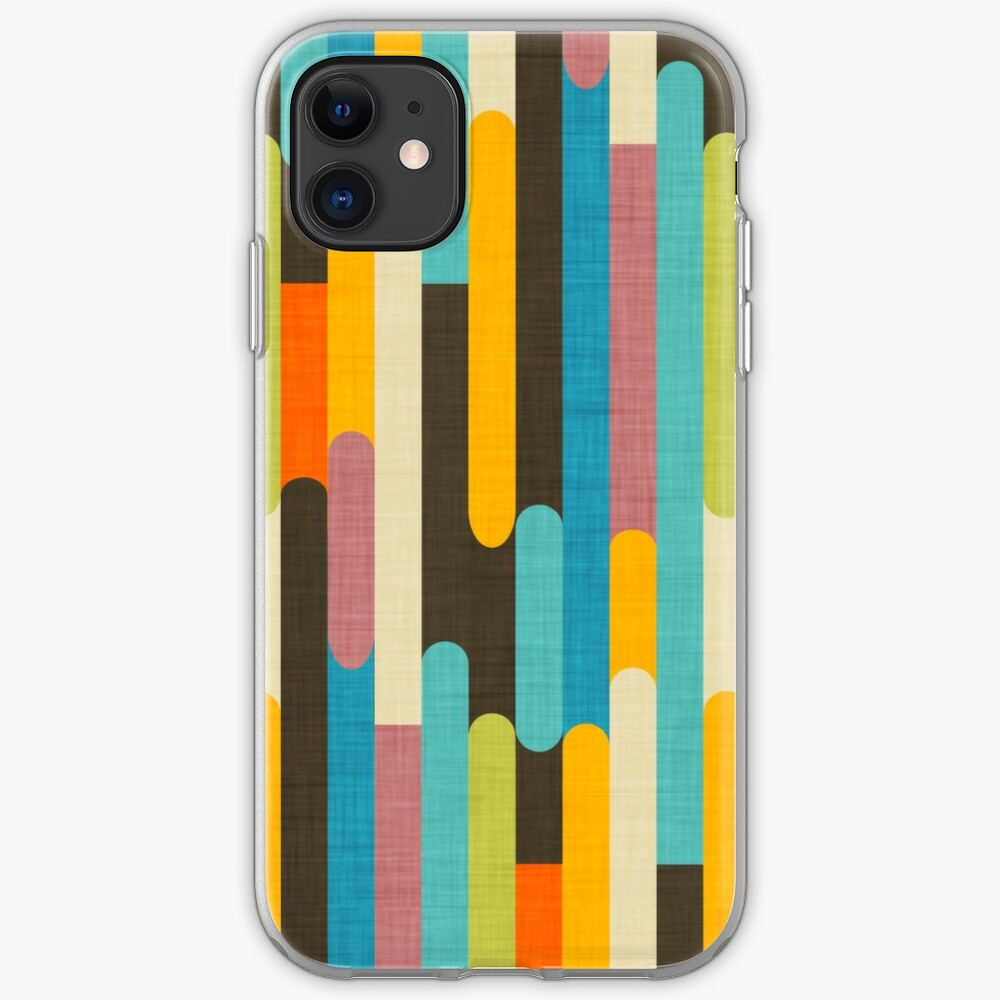 Retro Color Block Popsicle Sticks Blue iPhone Case & Cover