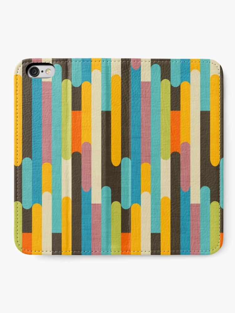 Alternate view of Retro Color Block Popsicle Sticks Blue iPhone Wallet