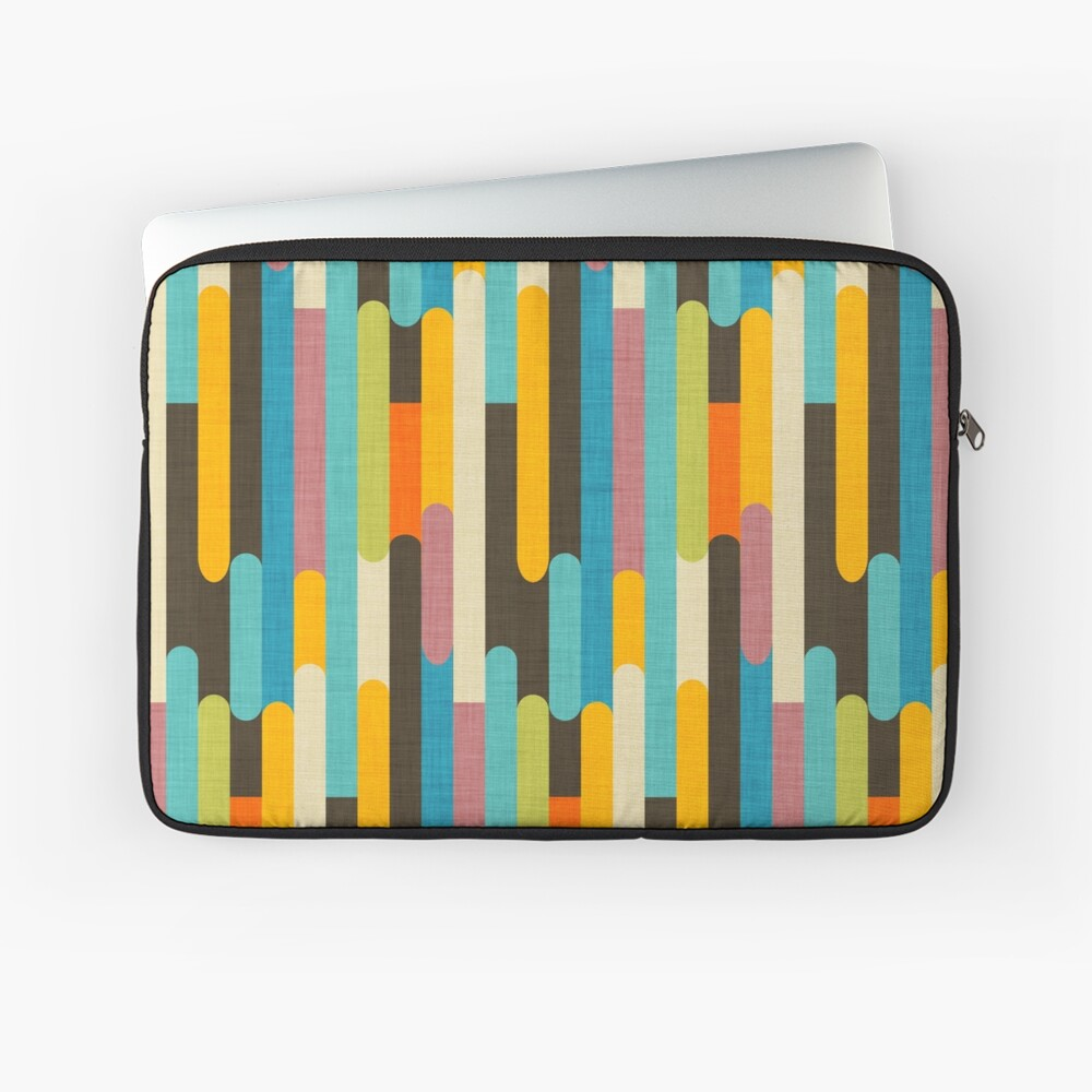 Retro Color Block Popsicle Sticks Blue Laptop Sleeve
