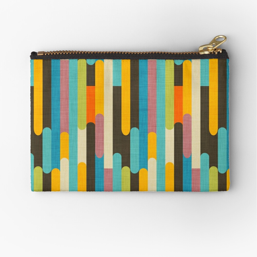 Retro Color Block Popsicle Sticks Blue Zipper Pouch