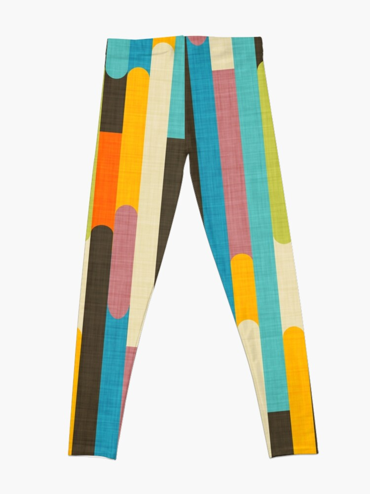 Alternate view of Retro Color Block Popsicle Sticks Blue Leggings