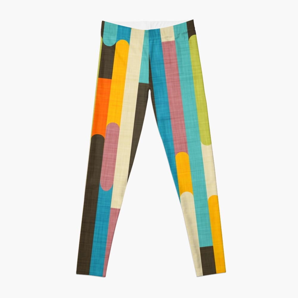 Retro Color Block Popsicle Sticks Blue Leggings
