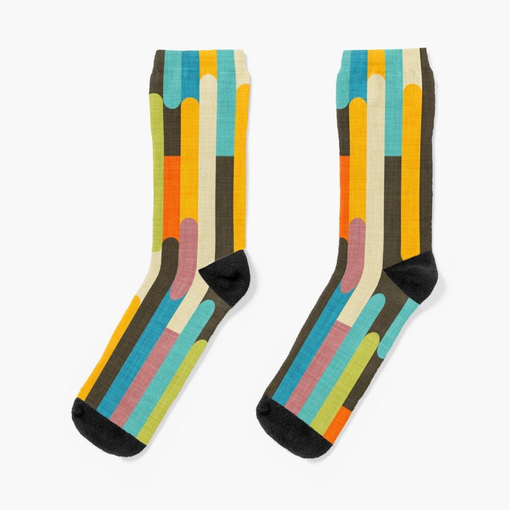 Retro Color Block Popsicle Sticks Blue Socks