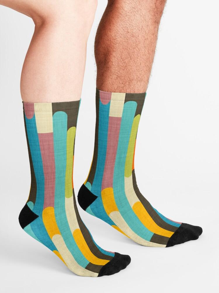 Alternate view of Retro Color Block Popsicle Sticks Blue Socks