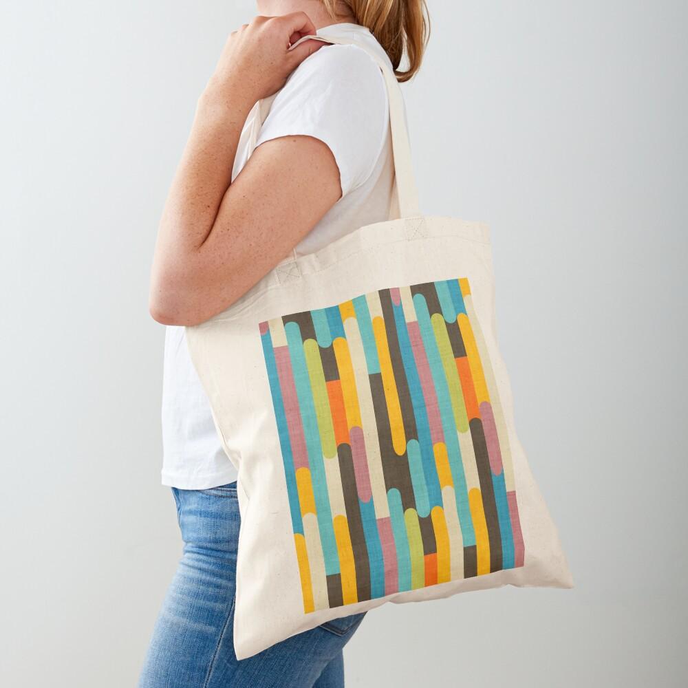 Retro Color Block Popsicle Sticks Blue Tote Bag