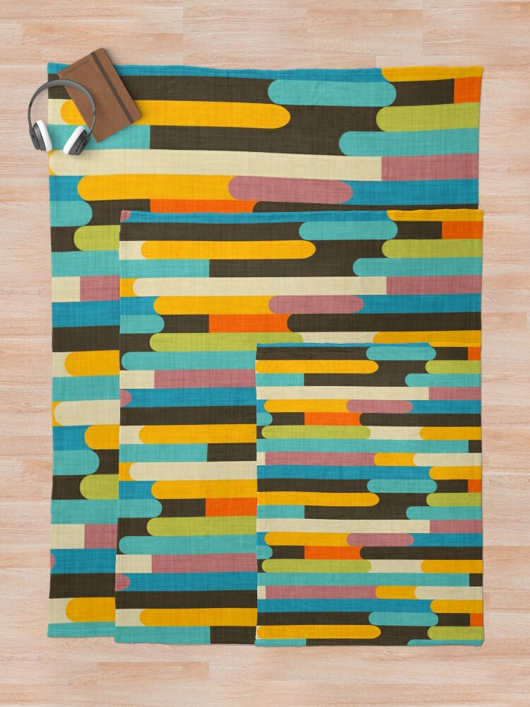 Alternate view of Retro Color Block Popsicle Sticks Blue Throw Blanket