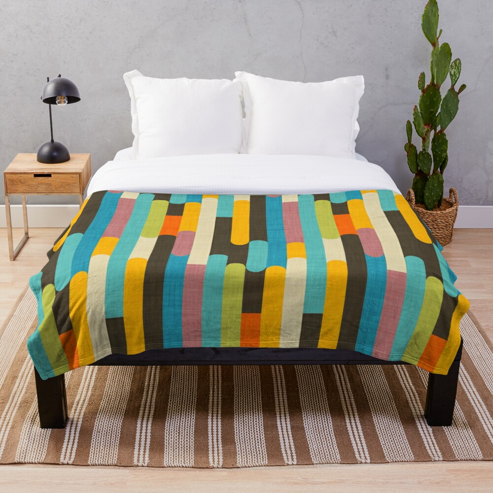Retro Color Block Popsicle Sticks Blue Throw Blanket