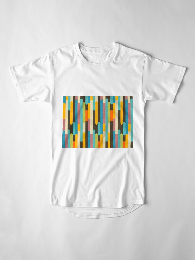 Alternate view of Retro Color Block Popsicle Sticks Blue Long T-Shirt
