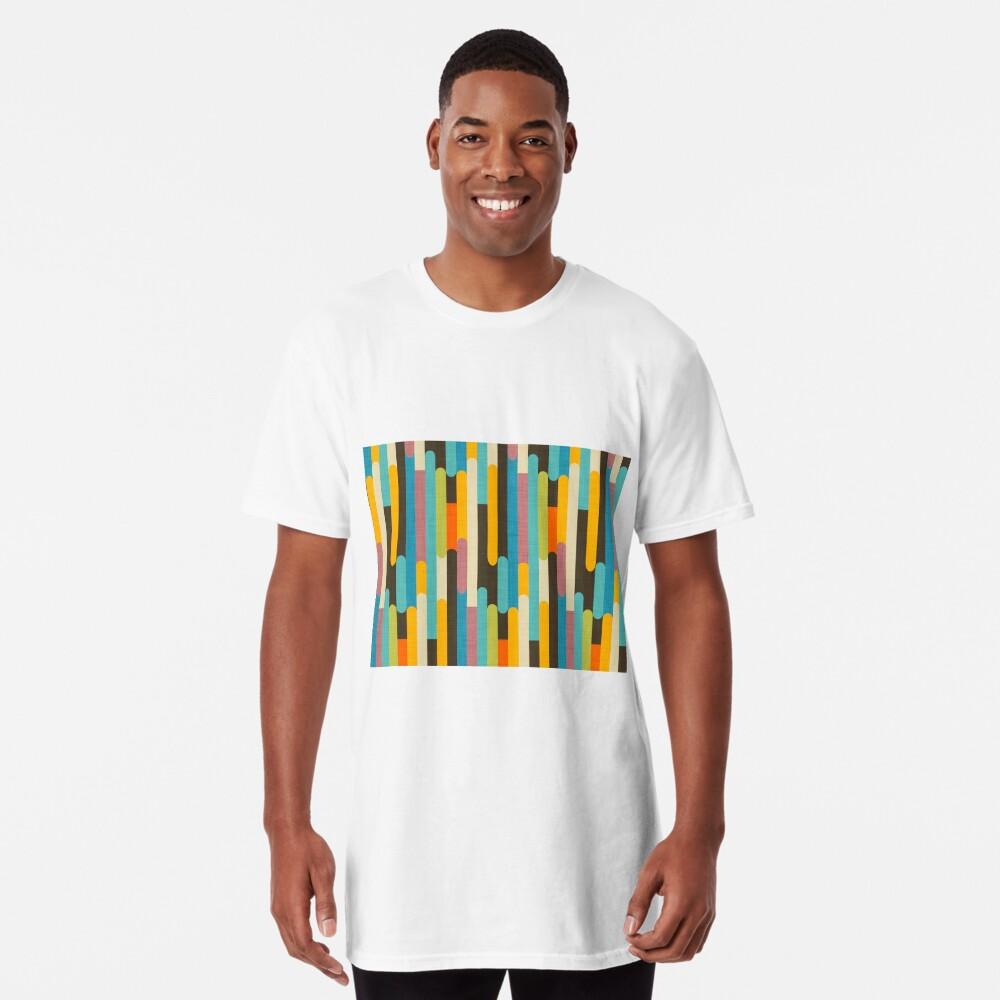Retro Color Block Popsicle Sticks Blue Long T-Shirt