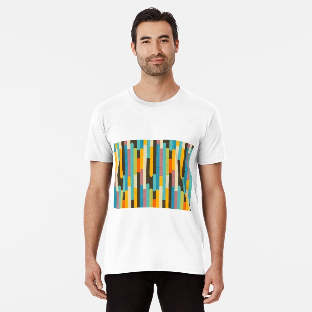 Retro Color Block Popsicle Sticks Blue Premium T-Shirt