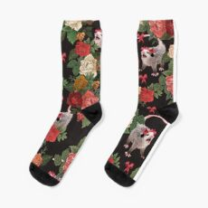 Opossum floral pattern Sock