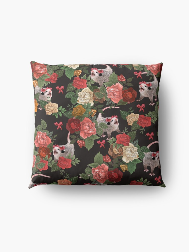 Alternate view of Opossum floral pattern Floor Pillow