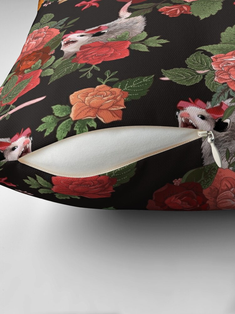 Alternate view of Opossum floral pattern Throw Pillow