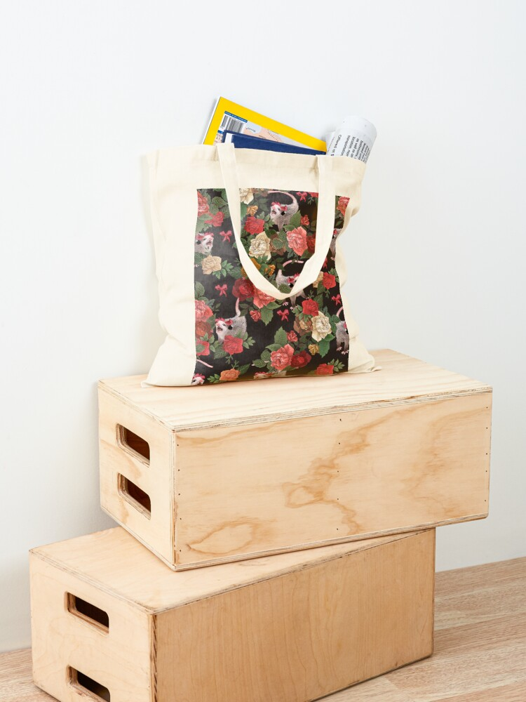 Alternate view of Opossum floral pattern Tote Bag
