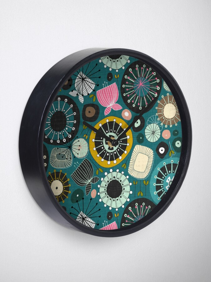Alternate view of blooms teal Clock