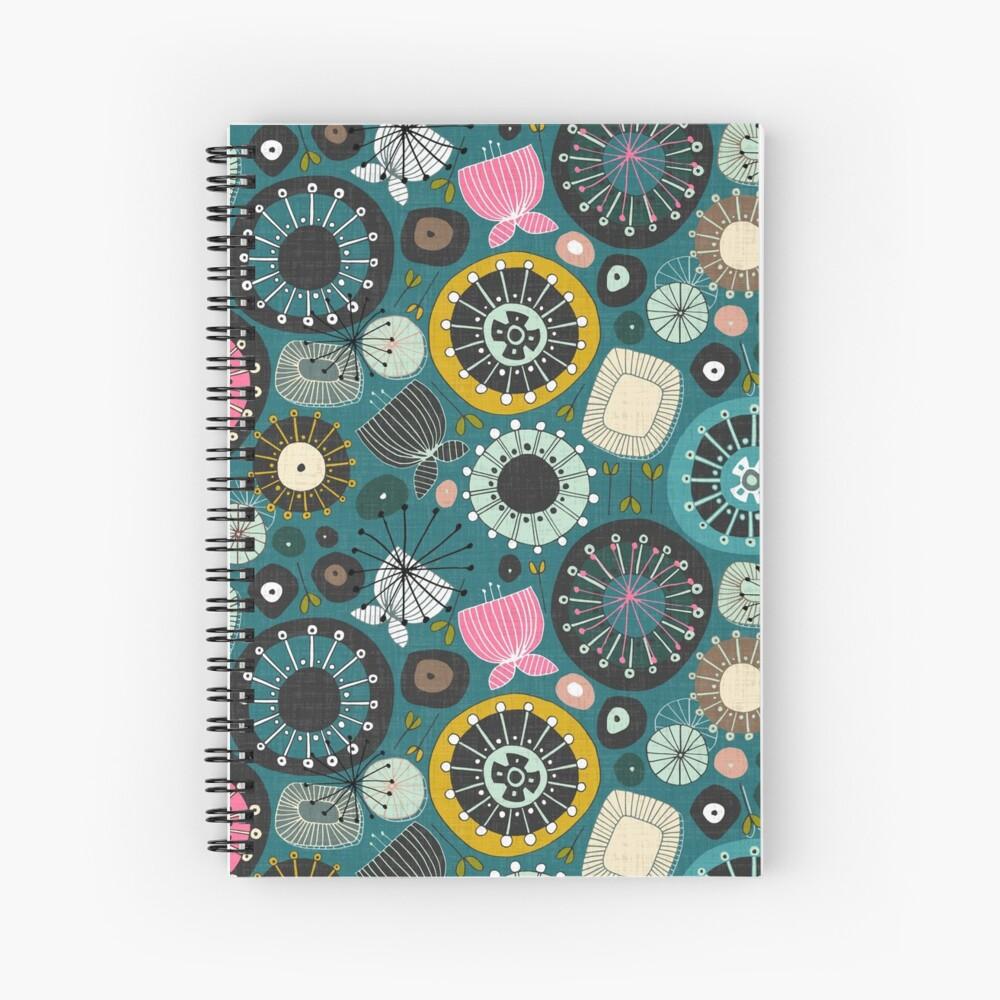 blooms teal Spiral Notebook