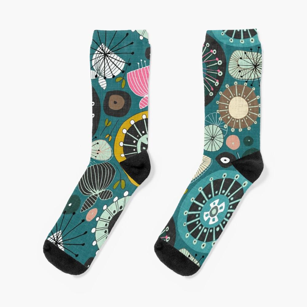 blooms teal Socks