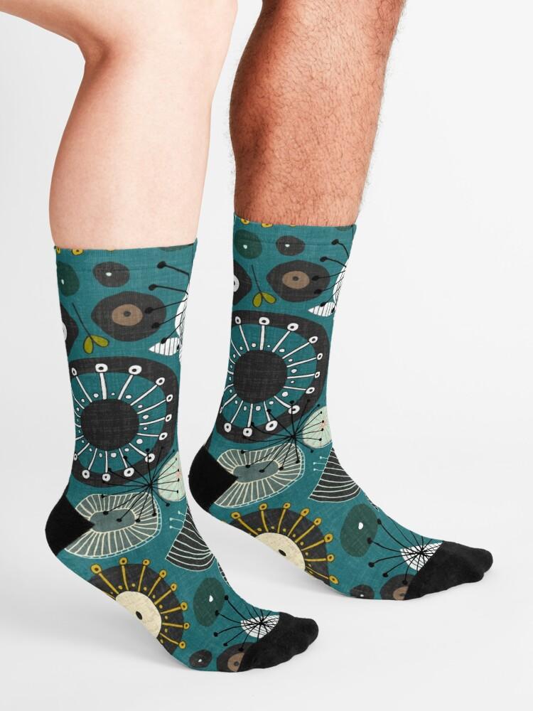 Alternate view of blooms teal Socks