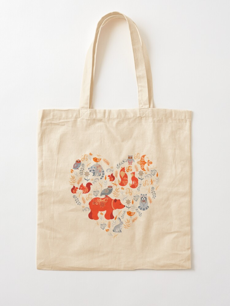 Alternate view of Fairy-tale forest. Fox, bear, raccoon, owls, rabbits, flowers and herbs on a blue background. Tote Bag