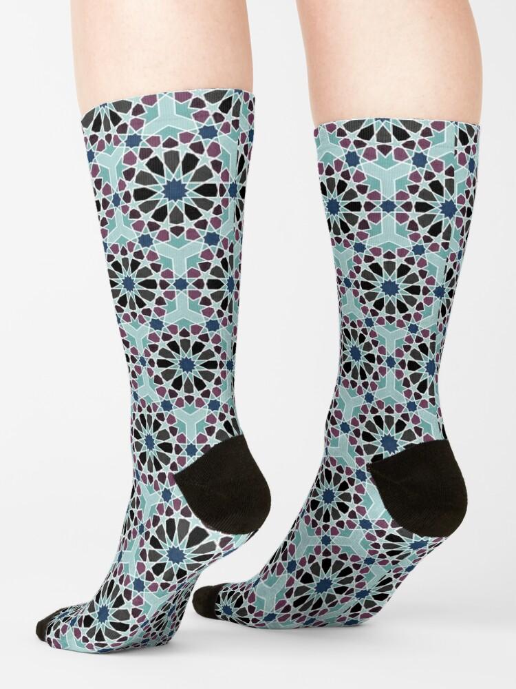 Alternate view of Geometric Pattern: Arabic Tiles: Midnight Socks