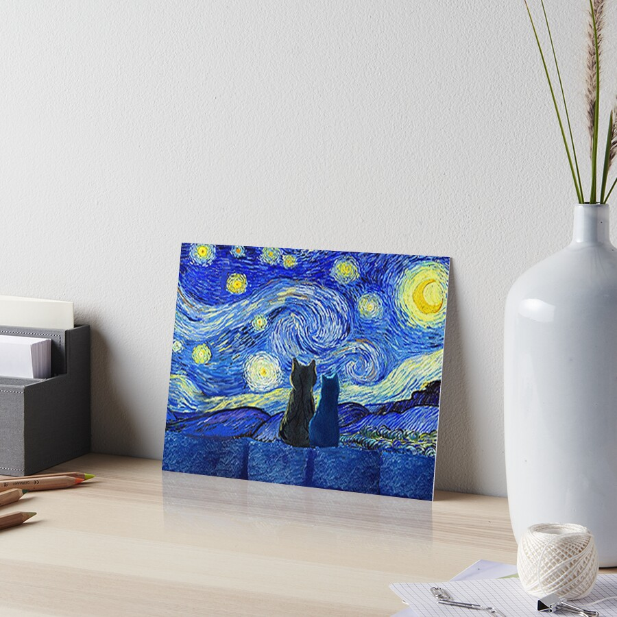 Cats and Starry Night Art Board Print