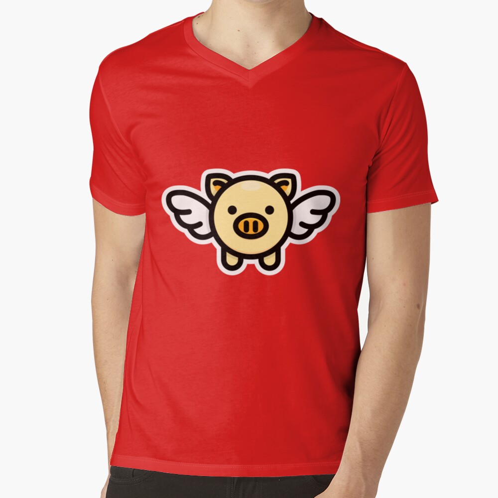 When Pigs Fly: Yellow V-Neck T-Shirt