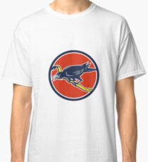 Crow Perching Crowbar Circle Retro Classic T-Shirt