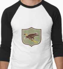 Crow Perching Crowbar Crest Retro Men's Baseball ¾ T-Shirt