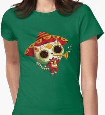 Camiseta entallada para mujer El día de los muertos Lindo gato El Mariachi