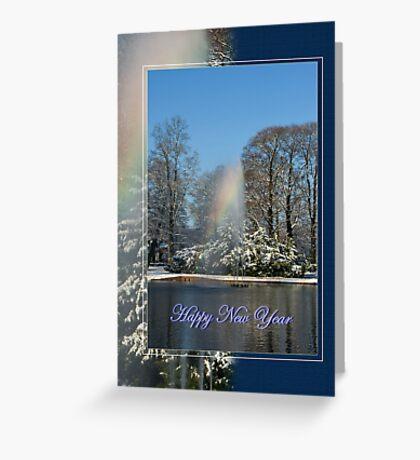 Rainbow fountain - Happy New Year Greeting Card