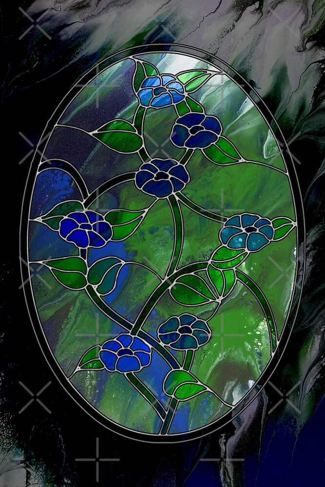 Glass Flowers - acrylic pour painting, digital art, stained-glass style by Kathryn Andersen