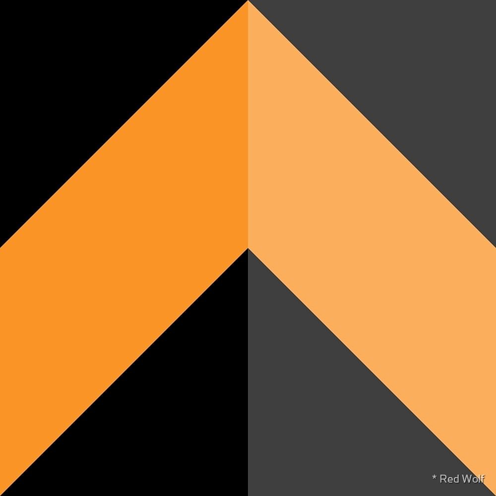 Geometric Pattern: Chevron: Dark/Orange by * Red Wolf