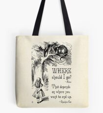 Alice in Wonderland - Cheshire Cat Quote - Where Should I go? - 0118 Tote Bag