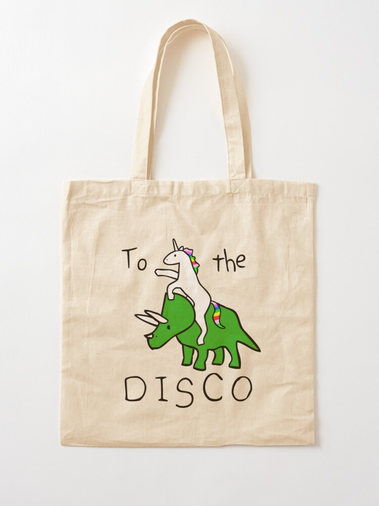 Alternate view of To The Disco (Unicorn Riding Triceratops) Tote Bag